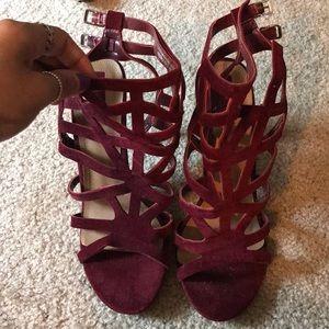 maroon/burgundy heels